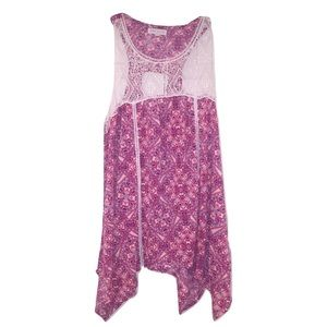 Socialite Tops - [3 for 15] Socialite Pink Lace Tank Top Size M